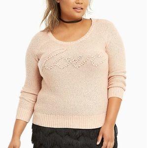 Torrid Blush Pink Love Sweater